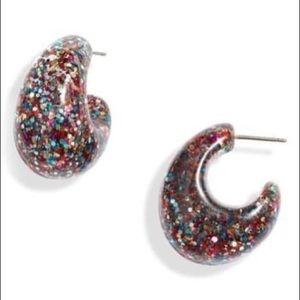 Kate Spade ♠️ new york glitter 41mm hoop earrings